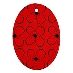 Red floral pattern Ornament (Oval)