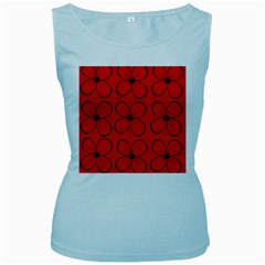 Red floral pattern Women s Baby Blue Tank Top