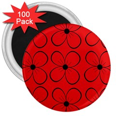 Red floral pattern 3  Magnets (100 pack)