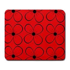 Red floral pattern Large Mousepads