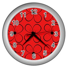 Red floral pattern Wall Clocks (Silver)