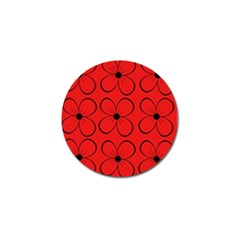 Red floral pattern Golf Ball Marker