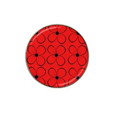 Red floral pattern Hat Clip Ball Marker (10 pack)