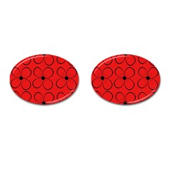 Red floral pattern Cufflinks (Oval)