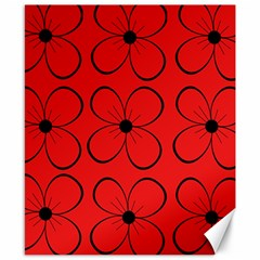 Red floral pattern Canvas 8  x 10