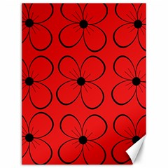 Red floral pattern Canvas 12  x 16