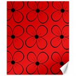 Red floral pattern Canvas 20  x 24   24 x20 Canvas - 1