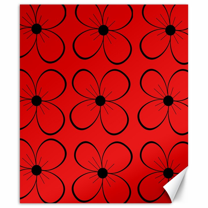 Red floral pattern Canvas 20  x 24