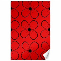 Red floral pattern Canvas 24  x 36
