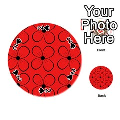 Red floral pattern Playing Cards 54 (Round)