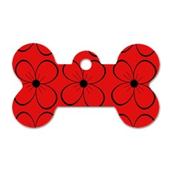 Red floral pattern Dog Tag Bone (Two Sides)