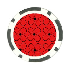 Red floral pattern Poker Chip Card Guards