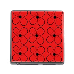 Red floral pattern Memory Card Reader (Square)