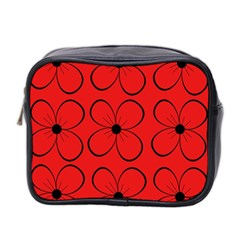 Red floral pattern Mini Toiletries Bag 2-Side