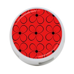 Red floral pattern 4-Port USB Hub (Two Sides)