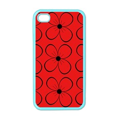 Red floral pattern Apple iPhone 4 Case (Color)