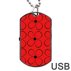 Red floral pattern Dog Tag USB Flash (One Side)