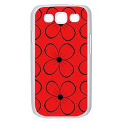 Red floral pattern Samsung Galaxy S III Case (White)