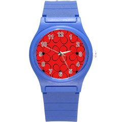 Red floral pattern Round Plastic Sport Watch (S)