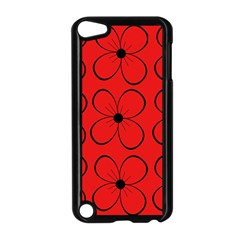 Red floral pattern Apple iPod Touch 5 Case (Black)