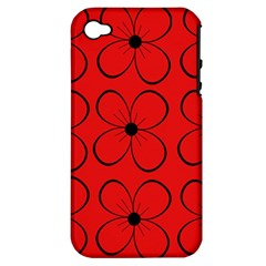 Red floral pattern Apple iPhone 4/4S Hardshell Case (PC+Silicone)