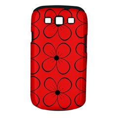Red floral pattern Samsung Galaxy S III Classic Hardshell Case (PC+Silicone)