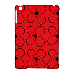 Red floral pattern Apple iPad Mini Hardshell Case (Compatible with Smart Cover)