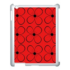 Red floral pattern Apple iPad 3/4 Case (White)