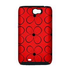 Red floral pattern Samsung Galaxy Note 2 Hardshell Case (PC+Silicone)