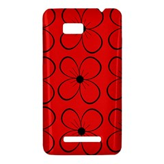 Red floral pattern HTC One SU T528W Hardshell Case