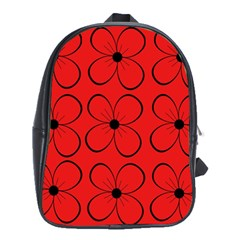 Red floral pattern School Bags (XL)