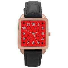 Red floral pattern Rose Gold Leather Watch