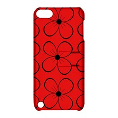 Red floral pattern Apple iPod Touch 5 Hardshell Case with Stand