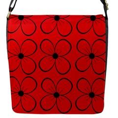Red floral pattern Flap Messenger Bag (S)