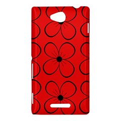 Red floral pattern Sony Xperia C (S39H)