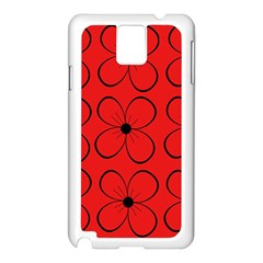 Red floral pattern Samsung Galaxy Note 3 N9005 Case (White)