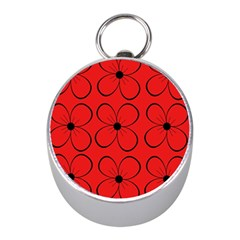 Red floral pattern Mini Silver Compasses