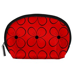 Red floral pattern Accessory Pouches (Large)