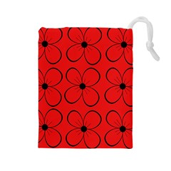Red floral pattern Drawstring Pouches (Large)