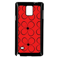 Red floral pattern Samsung Galaxy Note 4 Case (Black)