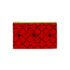 Red floral pattern Cosmetic Bag (XS)