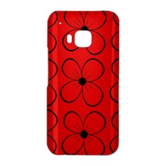 Red floral pattern HTC One M9 Hardshell Case