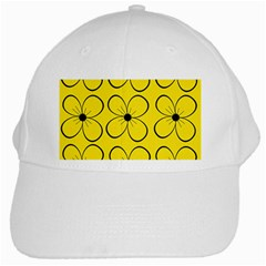 Yellow floral pattern White Cap