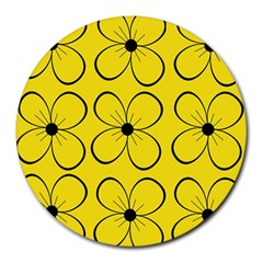 Yellow floral pattern Round Mousepads