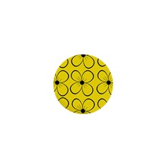 Yellow floral pattern 1  Mini Buttons