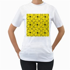 Yellow floral pattern Women s T-Shirt (White) (Two Sided)