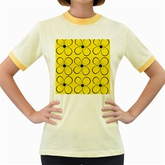 Yellow floral pattern Women s Fitted Ringer T-Shirts