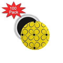 Yellow floral pattern 1.75  Magnets (100 pack)