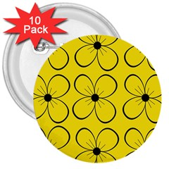 Yellow Floral Pattern 3  Buttons (10 Pack)