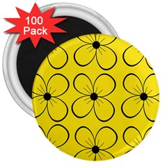 Yellow floral pattern 3  Magnets (100 pack)